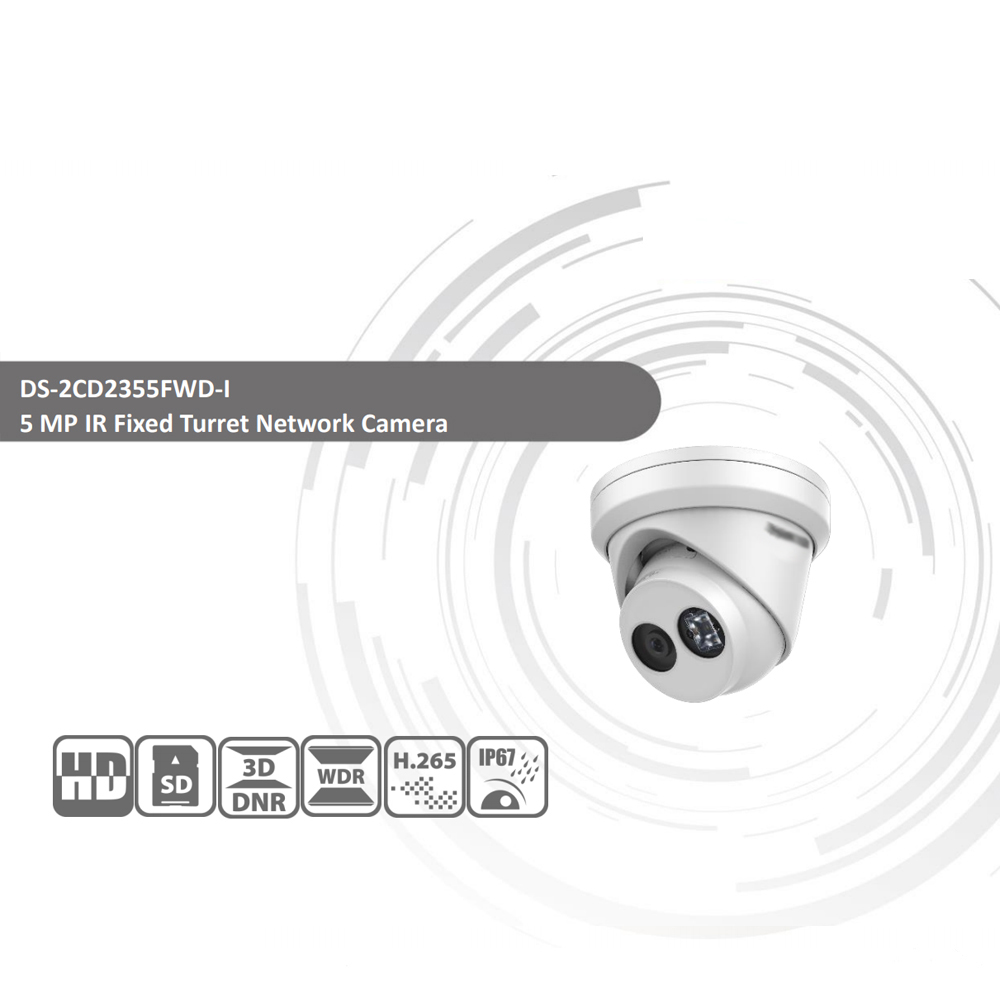 HIKVISION H.265 Camera DS-2CD2355FWD-I 5MP IR Fixed Turret Network Camera MINI Dome IP Camera SD card slot Face Detect