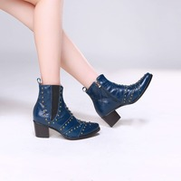 LTTL Retro style Women Ankle Boots Pointed Toe Dark Blue Boots with Zip Gold Studs Fashion Women Shoes Drop Shipping