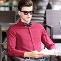 Camisas de Los Hombres 3 de Estilo italiano Ocultar botón de Manga Larga Camisa de Los Hombres Solid Camisa de Los Hombres Tamaño Euro homme camisa camisas de vestir de Alta calidad