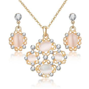 Classy Sparking Crystal Wedding Jewelry Set Jewelry Jewelry Sets Women Jewelry Metal Color: F1136