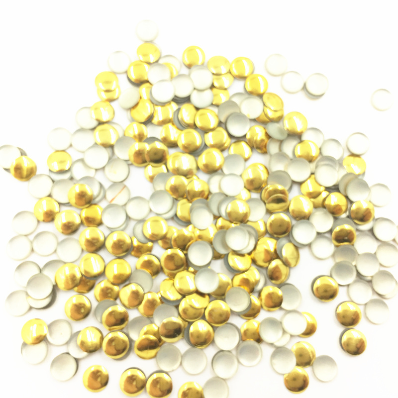 1000Pcs Gold Color Cabochon Decoration Cameo Round Aluminum Plastic Nail Art Fashion Jewelry DIY Making Findings 5mm in Beads from Jewelry Accessories