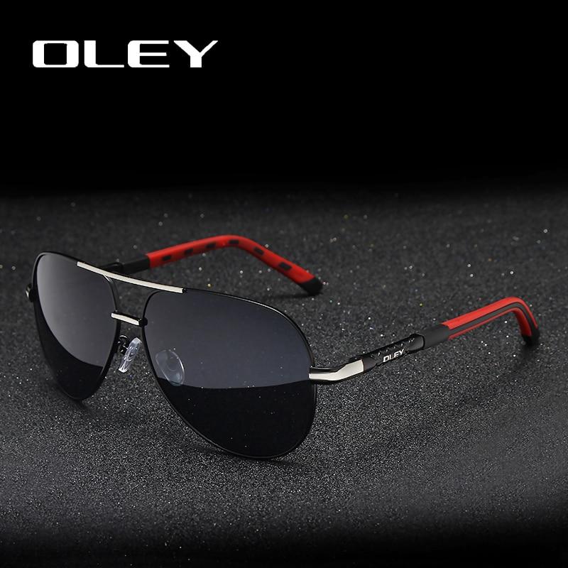 OLEY marca hombres Vintage gafas de sol polarizadas de aluminio clásico piloto gafas de sol revestimiento lentes sombras para hombres/Wome juego completo de caja