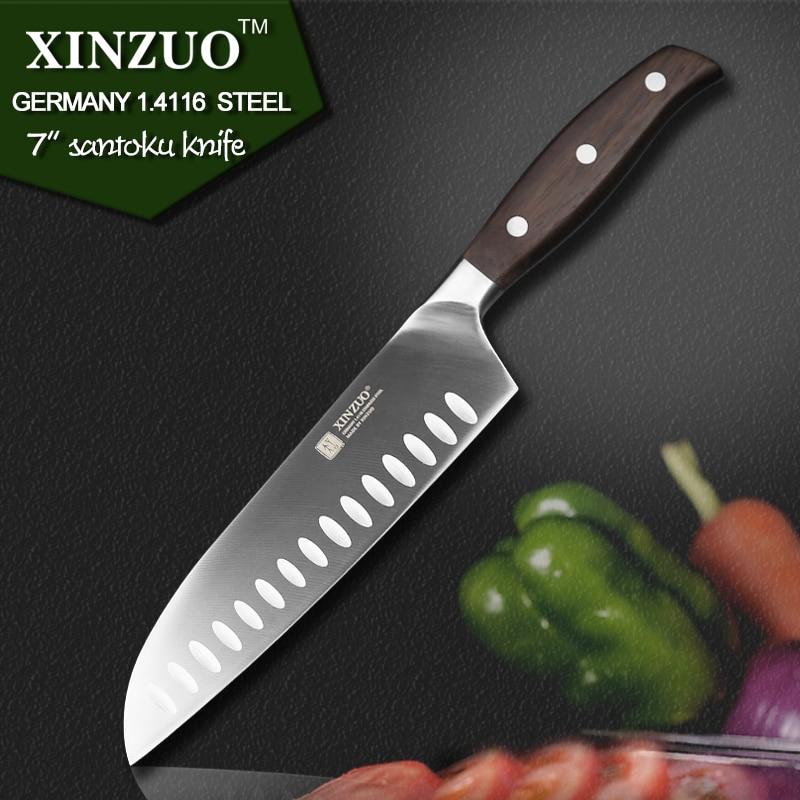 XINZUO 7 inch santoku font b knife b font GERMAN DIN1 4416 steel kitchen font b