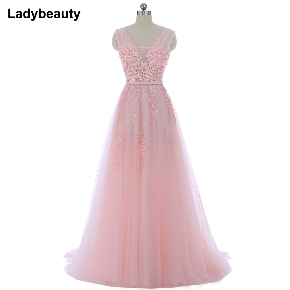 Vestido de festa New Coming Robe De Soiree V Neck with Lace Appliques Long Tulle Party Evening Dresses 2018 Pink Navy Blue Gray