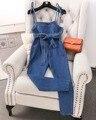 2017 Primavera Alta Cintura Fina Arco Bandagem Calça Jeans Macacão Macacão Jeans Feminino Calças Compridas com Bolsos Alta de Rua Mulheres Calças
