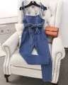 2017 Spring High Waist Slim Bow Bandage Jeans Jumpsuit Overalls Denim Female Long Pants with Pockets High Street Women Pants