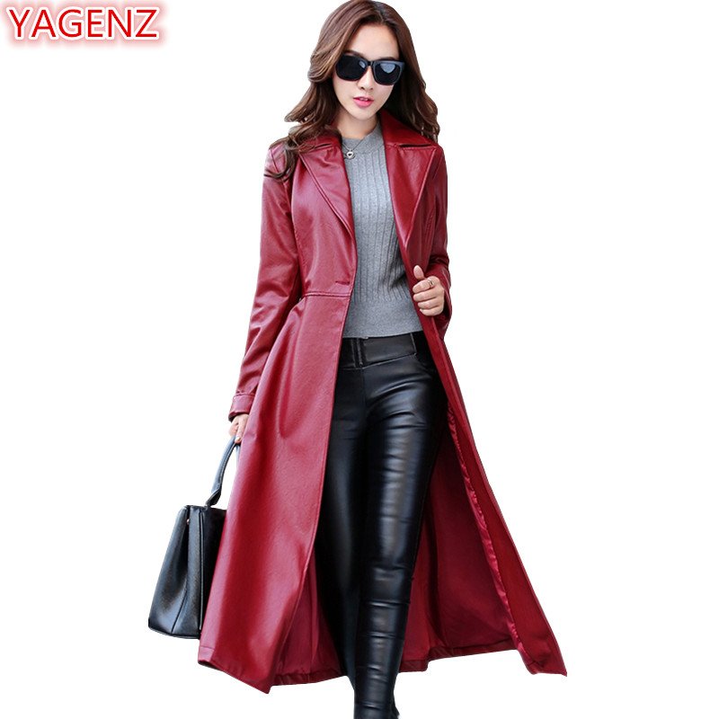 YAGENZ Temperament PU   Leather   Windbreaker Coats Women Jacket Long section Autumn And Winter Womens Clothes Long sleeve Coat 1012