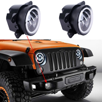 2PCS 4Inch Round Led Fog Light Headlight 30W Projector Lens With Halo DRL Lamp For Offroad