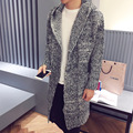 In autumn and winter in the men's long sweater coat hat cap knitting cardigan even youth leisure jacket