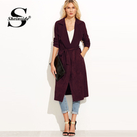 Sheinside Autumn Coats Women Burgundy Suede Self Tie Duster Trench Coat 2018 Clothes Wrap Outerwear With Belt Workwear Long Coat