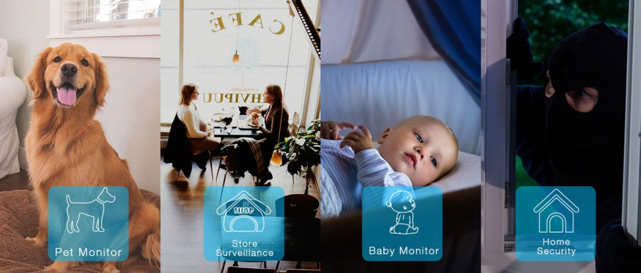 Smart WIFI PTZ FHD IP Cloud Camera with Alexa Voice Control Auto Smart Tracking Face Detection Sound Detection for Motion Alarm_F2