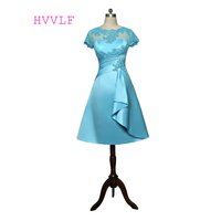 Turquoise 2017 Mother Of The Bride Dresses A Line Cap Sleeves Tea Length Appliques Plus Size