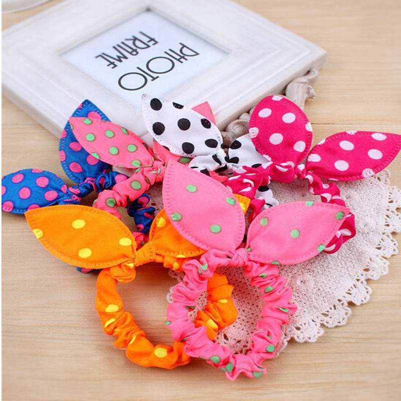 50pcs  Elastic Hair Bands For Girl Women Rubber Band Headband Fast Hair Bun Gum For Hair Accessories Rabbit Ears Polka Dot Ties halloween party zombie skull skeleton hand bone claw hairpin punk hair clip for women girl hair accessories headwear 1 pcs