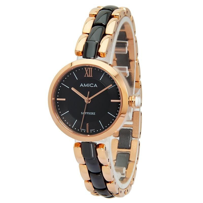 Amica 2018 Women's D-Ceramics Quartz Sapphire Rose Gold Tone Stainless Steel Wrist Watches A-1-7 amica women s d ceramics quartz sapphire silver tone stainless steel wrist watches a 1 5