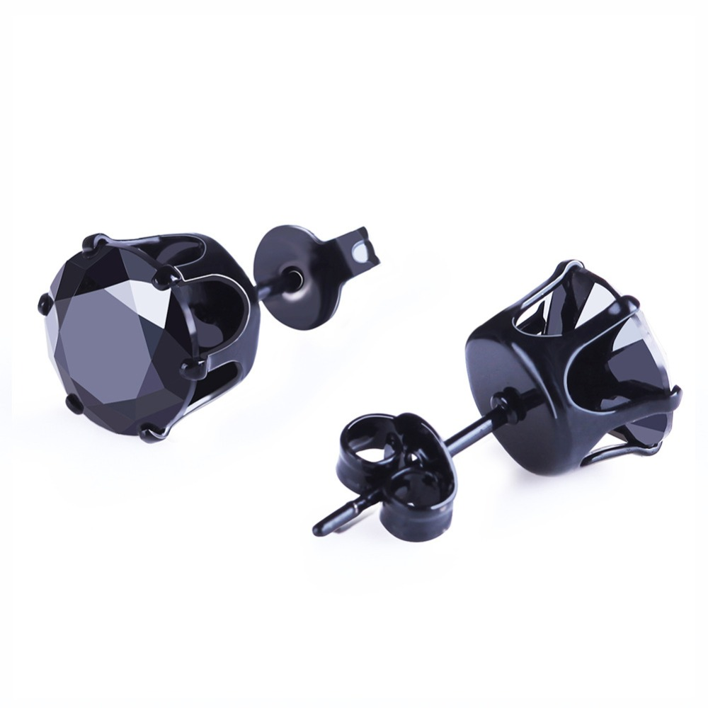 6 Pairs/ Lot Fashion Mosaic White AAA CZ Black Mens Earrings Sets Small Stud Earring For Women Simple Ear Jewelry