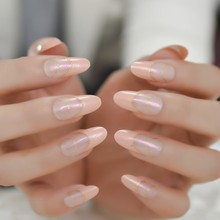 Long Oval French Fake Nail Light Orange Unique Lovely Artificial Nail Tips Pearl Shimmer Girl Designed False Nail(China)