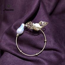 ANI 14K Roll Gold Handmade Women Bangle Natural Freshwater White Pearl Fashion Design Fine Jewelry Baroque Shape Bracelets