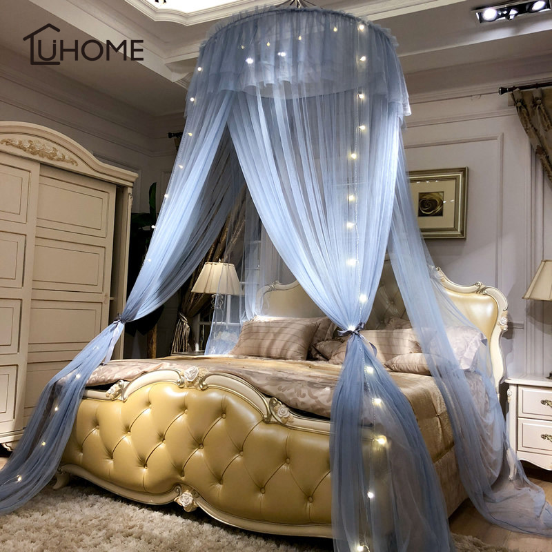 Home Large Elegant Mosquito Nets for Summer Hanging Kid Bedding Round Dome Bed Canopy Curtain Bed Tent With Night Light