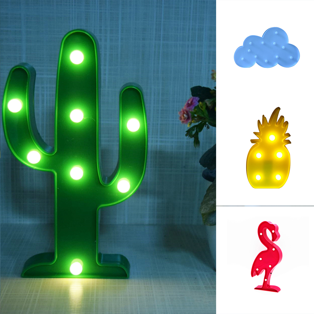 new led flamingo lamp pineapple cactus clouds nightlight romantic light table lamp for christmas decorations home decor