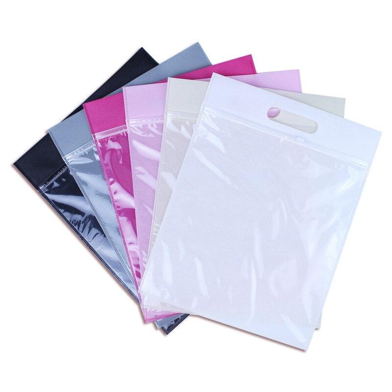 50pcs/lot-27x30+5cm-6color Non-woven zipper bag Gift bag Travel receive bag transparent handbag clothing reservoir bags