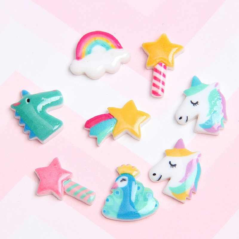 10PCS Mixed Resin Charm Acrylic Unicorn Charms For SLIME Rubber Band Hair Pin Brooch Decoration