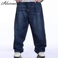 Hommes Bleu Baggy Jeans Blanchis Conception Hip Hop Mens Large Jambe Denim Pantalon Mâle Lâche Jeans Hiphop Streetwear Skateboarder Jeans