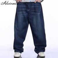 Männer Blau Baggy Jeans Gebleicht Design Hip Hop-männer Breites Bein Denim Hosen Männlichen Losen Jeans Hiphop Streetwear Skateboardfahrer Jeans