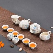 Китайский чайный сервиз Gaiwan голубой и белый фарфоровый чайный набор кунг-фу Tureen керамическая чашка для чая здоровья чайный горшок чашки мастер чашки
