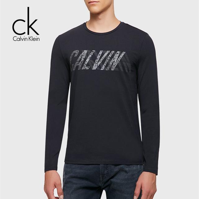 Calvin Klein Jeans / CK 2017 Autumn Winter New Men's Casual Round Neck Long Sleeve T shirt Men Classic Cotton Tops Tees