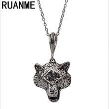 Fashion jewelry pendant tide restoring ancient ways personality charm animals Wolf long necklace sweater necklace chain