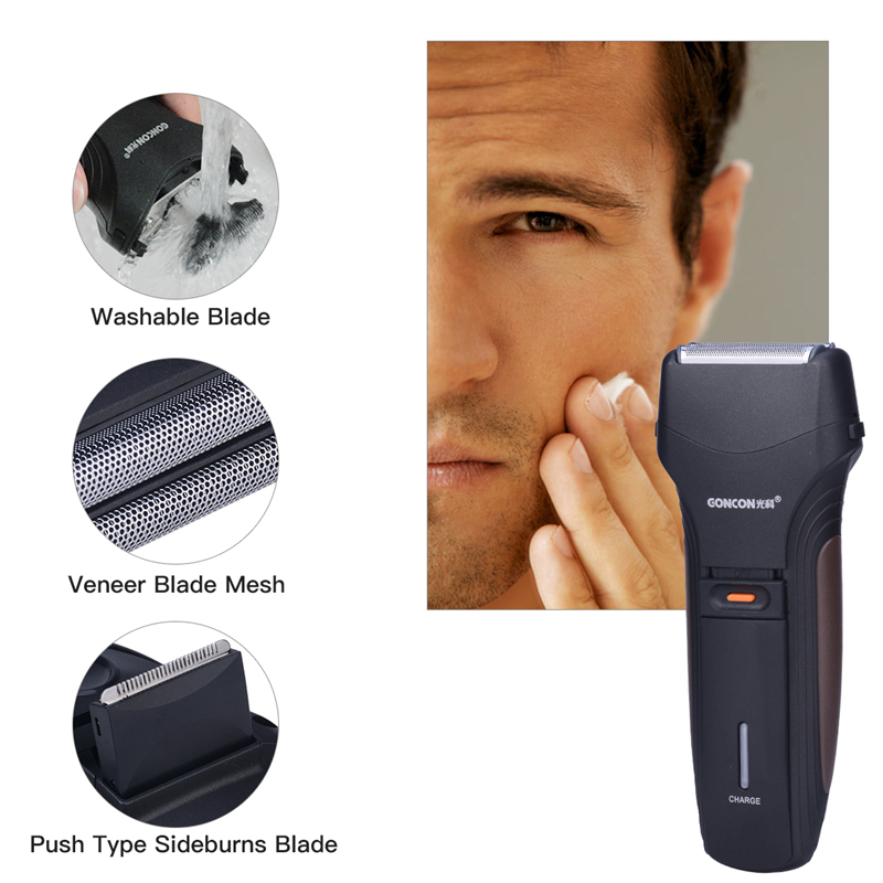 Washable Reciprocating Double Blade Electric Shaver Rechargeable Razor for Men face care with a pop-up sideburn trimming blade40 rscw 730 electric ac rechargeable dual blade head reciprocating shaver razor silver black
