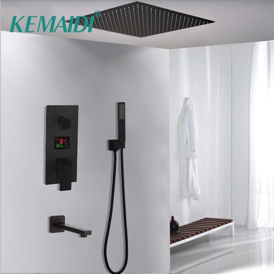 KEMAIDI thermostatique affichage de la température noir 8 10 12 pouces montage mural salle de bains ensemble de robinet de pluie ORB pommeau de douche ensemble de main