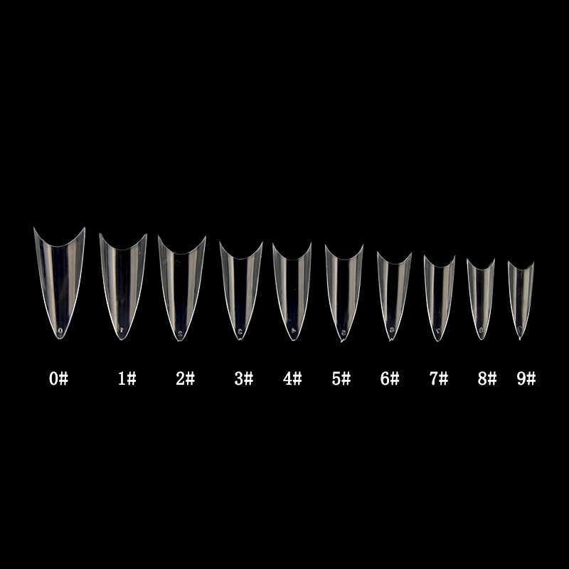Накладные ногти 500 шт. с 10 типами, накладные ногти из акрила для французского маникюра, ABS Типсы, искусственные 0 -9 размеры, дизайн ногтей