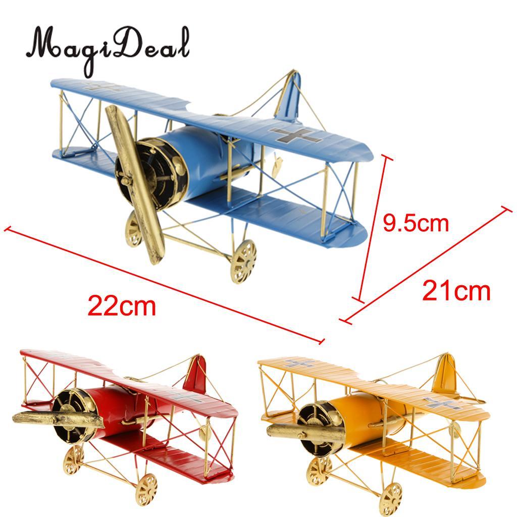 MagiDeal 1Pc Vintage Metal Airplane Model Biplane Aircraft For Home Livingroom Decor Children Boys Preschoolers Outdoor Fun Toys