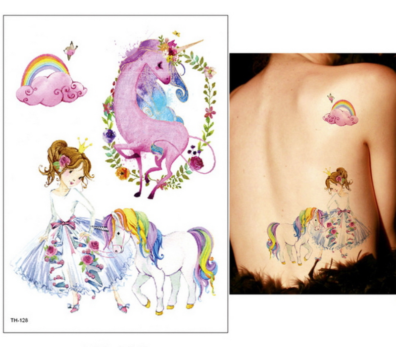 New Cartoon Blue Unicorn Fairy Tales Temporary Tattoo For Children Kids Waterproof Flash Tattoo Sticker Girl Baby Body Art Horse 4