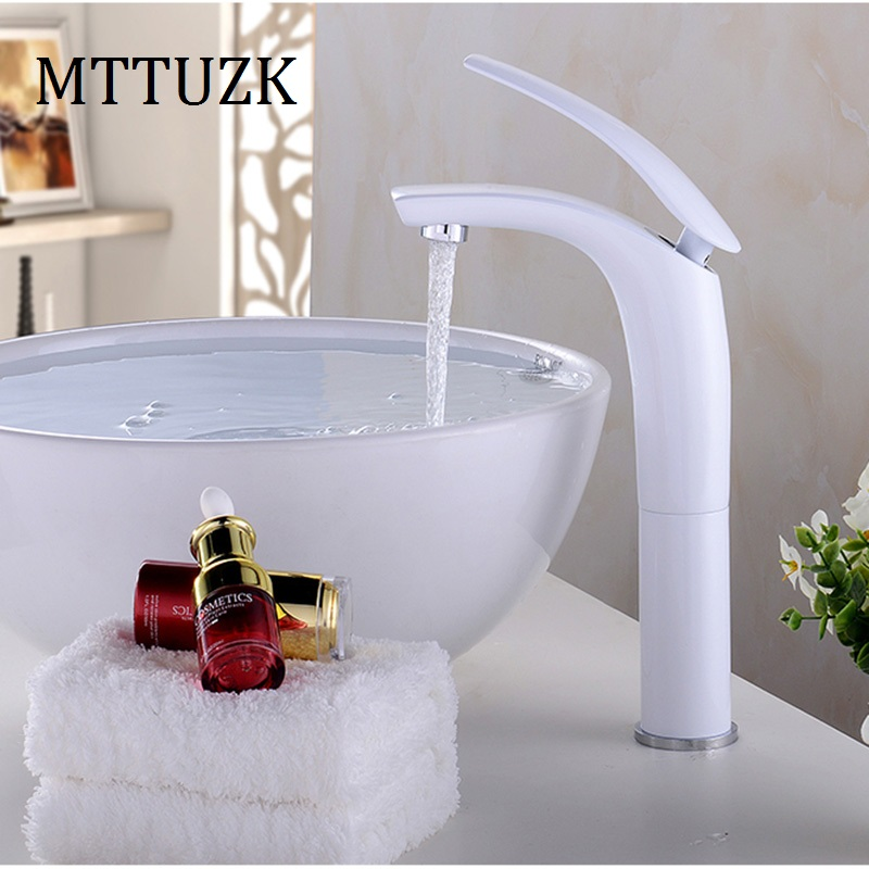 MTTUZK Gold/Chorme/White/Red/Black/Green Colorful Painted Basin Faucets Hot Cold Mixer Bathroom Basin Tap Brass Faucet Crane antique brushed newly colorful painted basin faucets hot