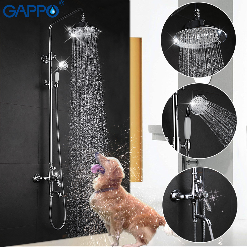 GAPPO bathroom shower faucet set bathtub mixer shower faucet chrome Bath Shower tap waterfall big rain shower head GA2497 wall mounted waterfall shower faucet glass set copper bathtub faucet shower chrome bathroom handheld shower head faucet mixer