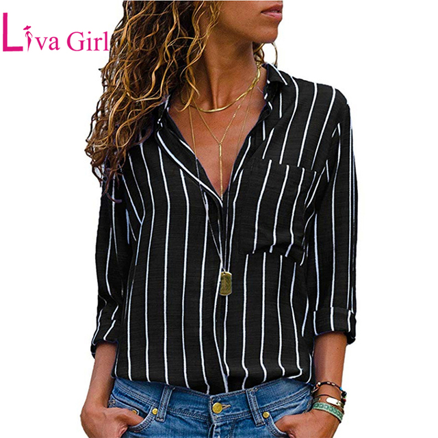 LIVA GIRL Plus Size Striped Roll Tab Sleeve Shirts Women Blouses 2019 Spring  Casual Long Sleeve cbc50f7f8a6e