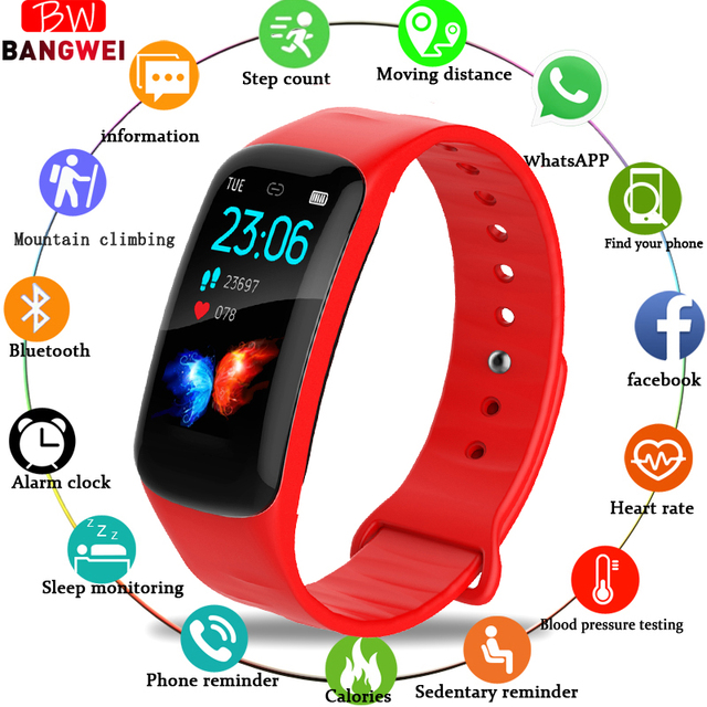 LIGE New Smart Women Watch IP67 Waterproof Fitness Tracker heart rate Monitor Pedometer Watch For Android ios Sports Smart Watch