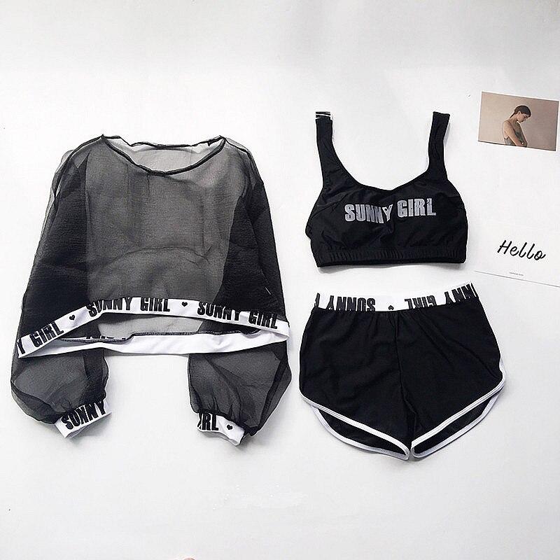 New Ladies Letter Print Swimwear Mesh Blouse Sexy Slim Cute  Four Pieces Bikinis Sets Shorts Summer Swimsuit Bathing Suit Women