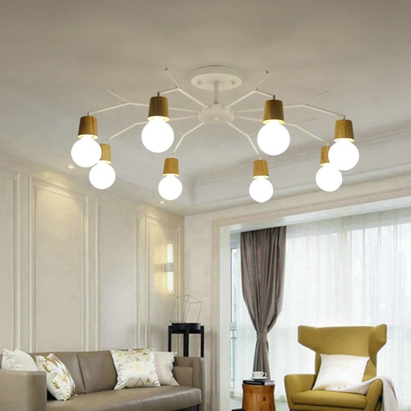 Art Deco Nordic Led Chandelier Lights Fixture Modern Wooden Tree Branch Spider Lamp Luminaire Techo Japan Home Deco Living Room