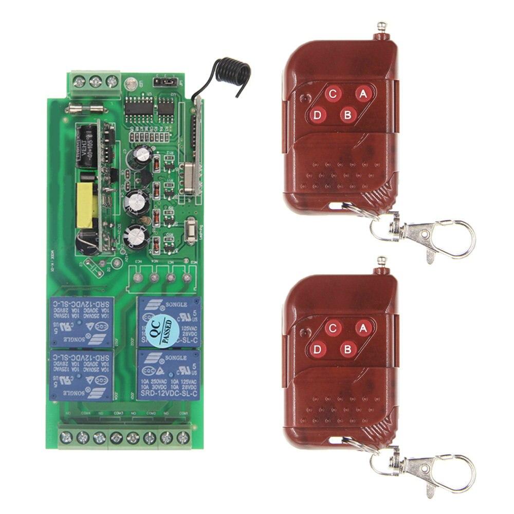 AC 220V 110V 85-265V 315 / 433.92 MHz Intelligent RF Wireless Remote Control Switch System For LED Light / Door / Motor / Pump 2 working ways rf wireless intelligent