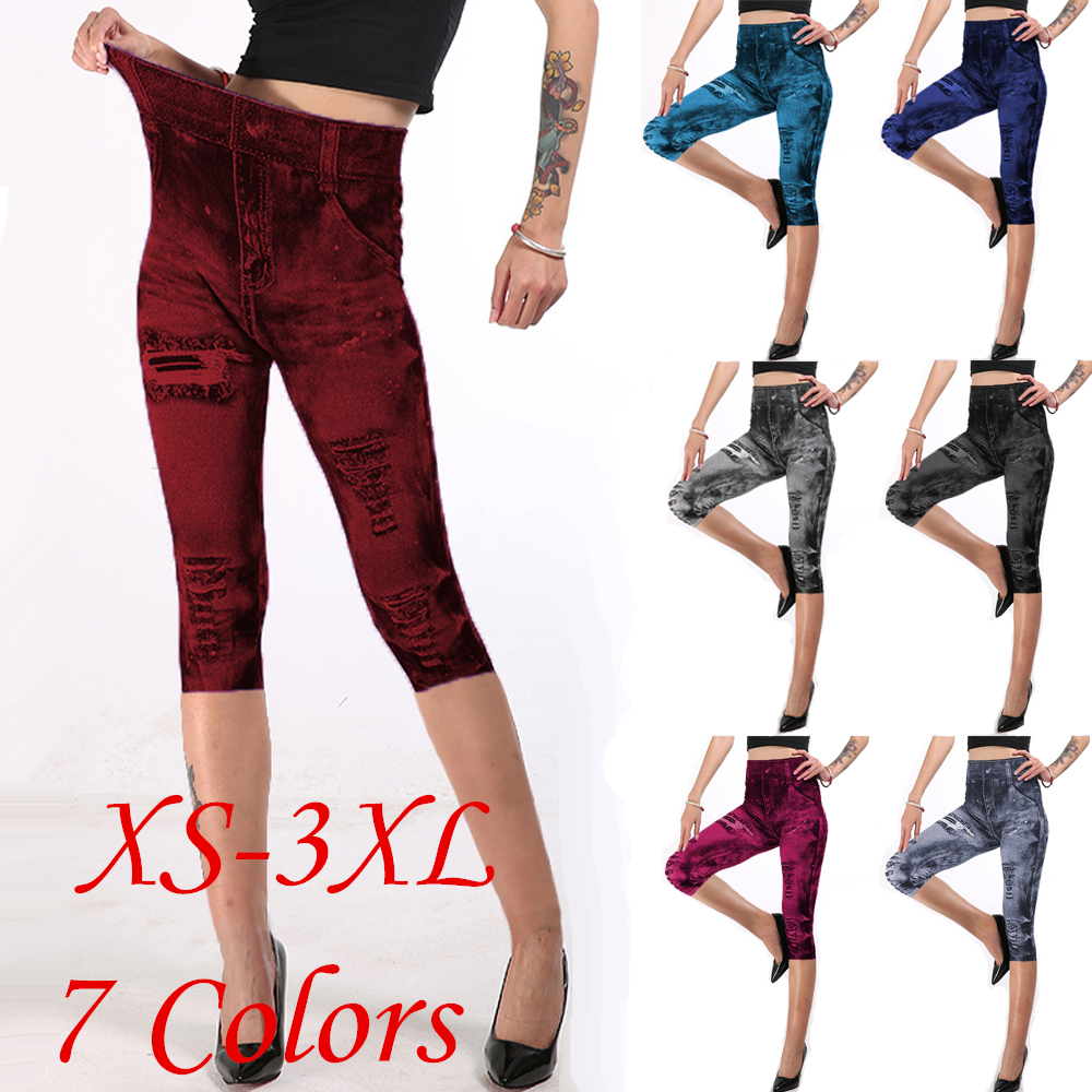 7 Colors 7 Size Capri Leggings Womens Cropped Trousers Mock Pocket Pants Slim Jeggings Denim Skinny Plus Size