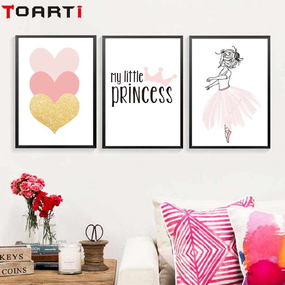 Pink Girls Princess Crown Heart Poster&Prints Modern Home Decor Canvas Painting Modular Wall Picture For Bedroom Wall Art Murals (3)