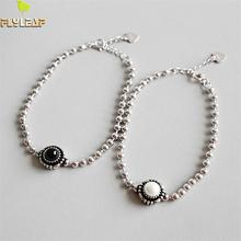 Flyleaf 925 Sterling Silver Bracelets For Women Pearl Agate Ball Beaded Party Simple Fashion Fine Jewelry Bracelets & Bangles nymph seawater pearl bracelets fine jewelry near round natural pearl bangles for women gold trendy anniversary gift [s308]