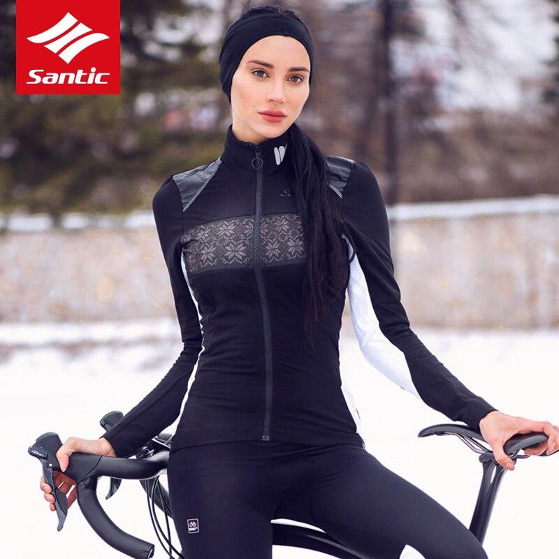Santic femmes veste d'hiver en plein air Pro Fit veste de cyclisme Santic chaud + thermique polaire manteau coupe-vent imprimer cyclisme vêtements