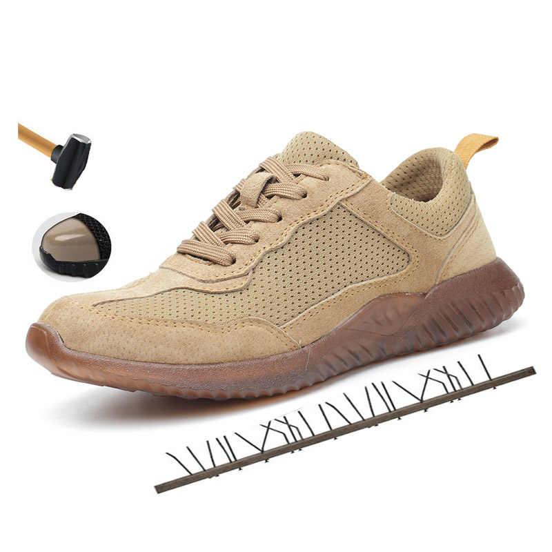 Mannen Ademende Mesh Desert Army Stalen Neus Anti Smash Werkschoenen Mannen Militaire Punctie Proof Veiligheid Schoenen Laarzen
