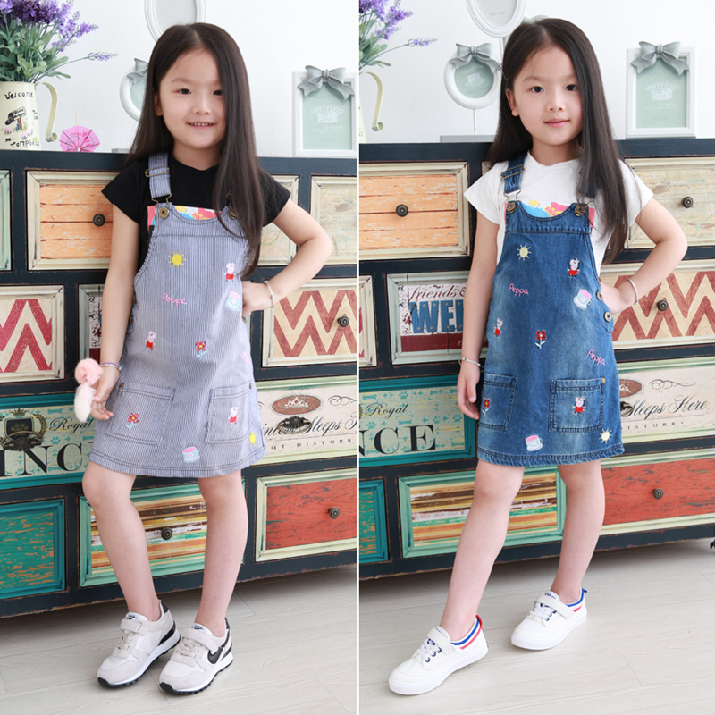 New Arrival Baby Girls Denim Character Sundress Girls Denim Suspender Dress Kids Strap Casual Sundress Fashion Summer Dresses 2017 new arrival baby girls denim sundress girls fashion sundress kids suspender denim dress child casual sundress