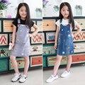 Nova Chegada Do Bebê Meninas Denim Vestido Caráter Meninas Denim Suspender Vestido Crianças Cinta vestido de Verão Casual Vestidos Da Moda Verão