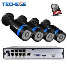 Techege 8CH полный 1080 P PoE NVR комплект 48 В PoE NVR w 4 шт. 2.0MP 3000tvl ночного видения IP POE Камера P2P облако камеры видеонаблюдения системы